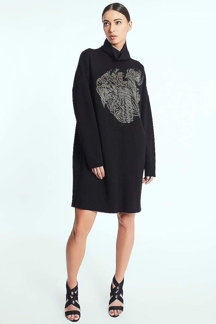 Black Printed Dress With Polo Neck by Rocky Star