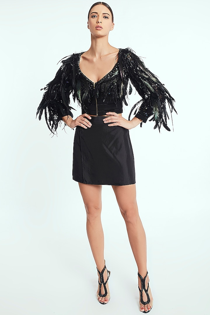 Black Polyester Handcrafted Mini Dress by Rocky Star