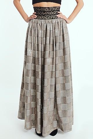 Beige Sequins Midi Skirt by Rocky Star