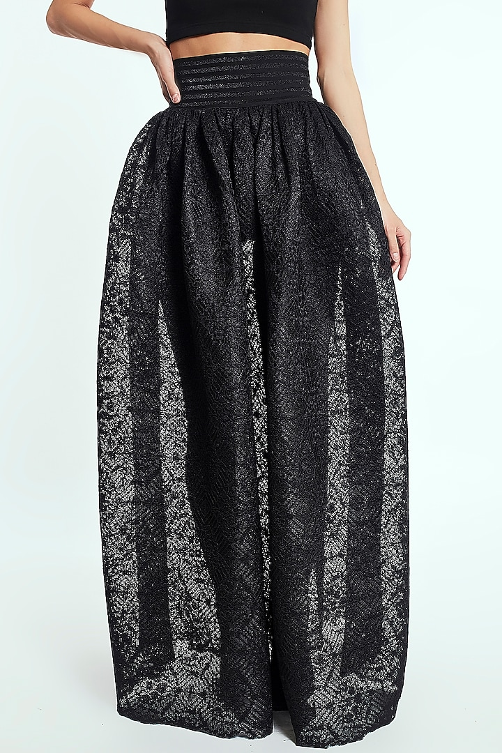 Black Midi Skirt With Lace Texture by Rocky Star