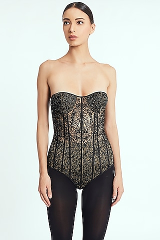 Black Handcrafted Beaded Bodysuit by Rocky Star