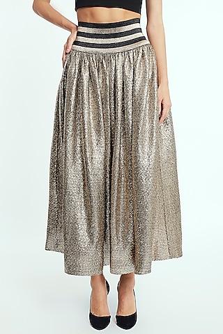 Gold Polyester Midi Skirt by Rocky Star