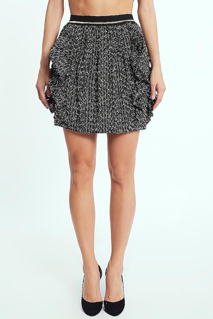Black & Gold Ruffled Skirt by Rocky Star