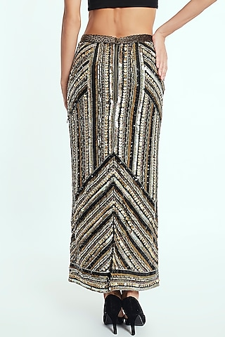 Black Handcrafted Midi Skirt With Crystals by Rocky Star