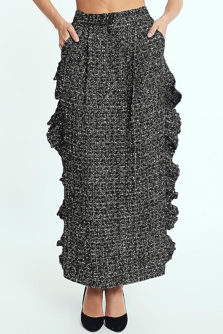Black & Gold Ruffled Midi Skirt by Rocky Star