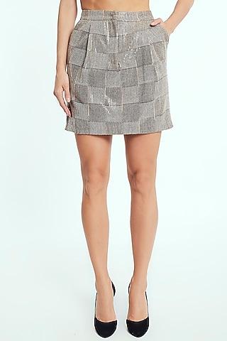 Beige Sequins Mini Skirt by Rocky Star