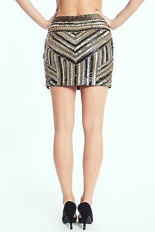 Black Handcrafted Beaded Mini Skirt by Rocky Star