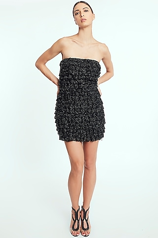 Black Sequin Handcrafted Mini Dress by Rocky Star