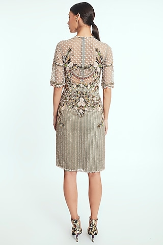 Light Pistachio Hand Embroidered Shift Dress by Rocky Star