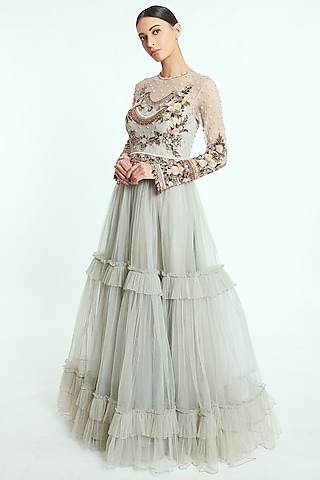 Light Pistachio Hand Embroidered Anarkali Gown  by Rocky Star