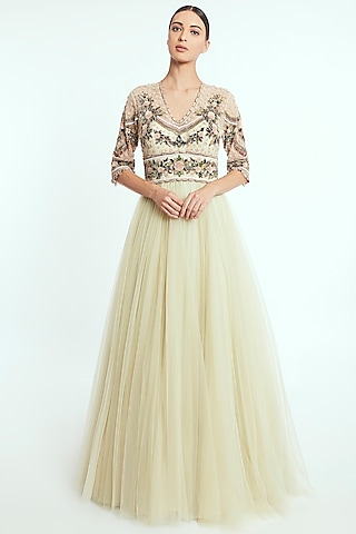 Light Lemon Hand Embroidered Anarkali Gown by Rocky Star