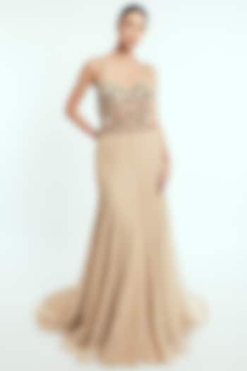Beige Hand Embroidered Gown  by Rocky Star