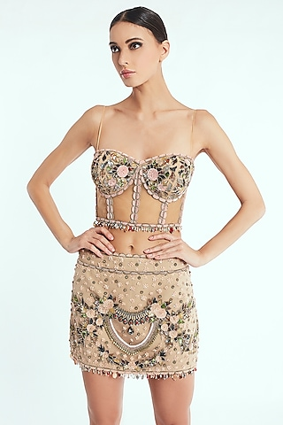 Beige Hand Embroidered Corset Top by Rocky Star