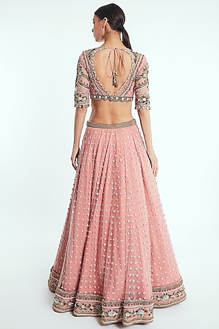 Blush Pink Hand Embroidered Lehenga Set by Rocky Star
