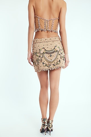 Beige Hand Embroidered Mini Skirt by Rocky Star