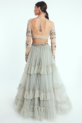 Light Pistachio Hand Embroidered Lehenga Set by Rocky Star