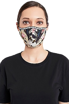 Multi Colored 3 Ply Digital Printed Cotton Mask With Pouch by Rocky Star