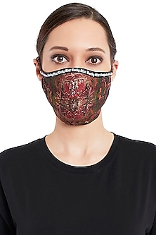 Multi Colored 3 Ply Printed Mask With Pouch by Rocky Star