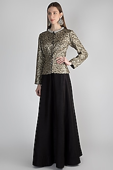 Black Embroidered Jacket With Skirt by Rocky Star