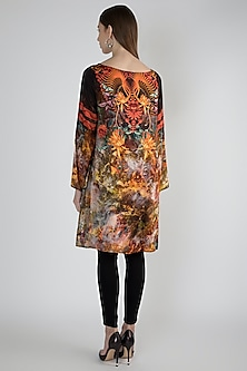 Multi Colored Floral Printed Raw Silk Tunic by Rocky Star