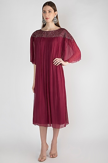 Maroon Embroidered Tunic by Rocky Star