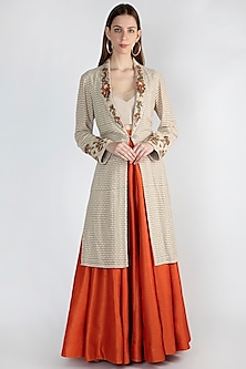 Beige Embroidered Jacket Lehenga Set by Rocky Star-SHOP BY STYLE