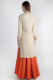 Beige Embroidered Jacket Lehenga Set by Rocky Star