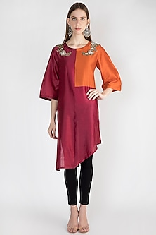Maroon Embroidered Tunic With Inner by Rocky Star