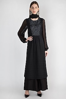 Black Embroidered Tunic Set by Rocky Star