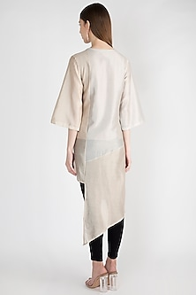 Beige Embroidered Asymmetrical Tunic With Inner by Rocky Star