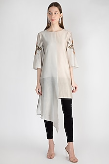 Beige Embroidered Tunic With Inner by Rocky Star