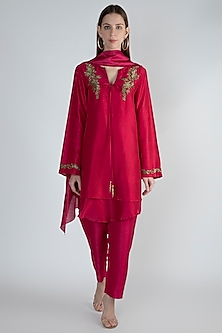 Red Embroidered Tunic Set by Rocky Star