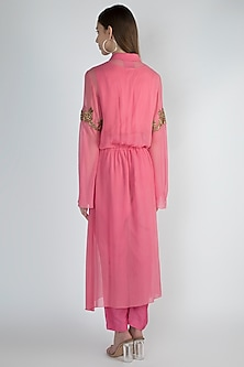 Pink Embroidered Tunic Set With Inner Slip by Rocky Star