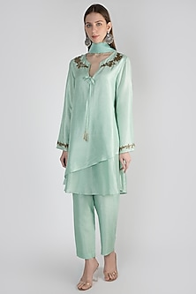 Sage Green Embroidered Tunic Set by Rocky Star