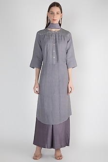 Grey Embroidered Tunic Set by Rocky Star