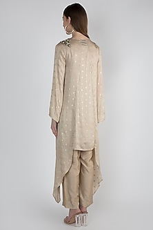 Beige Embroidered Tunic Set With Inner Slip by Rocky Star