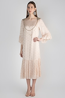 Beige Hand Embroidered Tunic With Inner Slip by Rocky Star