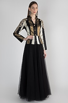 Multi Colored Embroidered Jacket With Skirt by Rocky Star