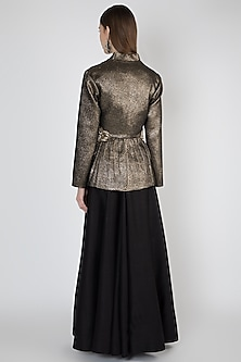 Golden Embroidered Jacket With Skirt by Rocky Star