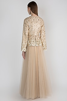 Beige Embellished Jacket With Blouse & Skirt by Rocky Star