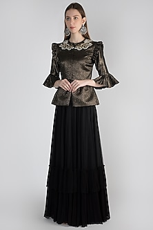 Golden Embroidered Peplum Jacket With Skirt by Rocky Star