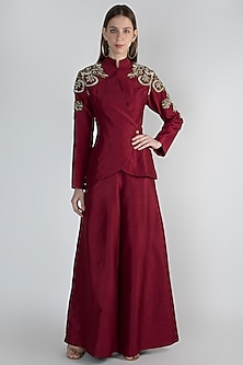 Maroon Embroidered Jacket With Pants by Rocky Star