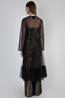 Black Embroidered Jacket With Top & Pants by Rocky Star