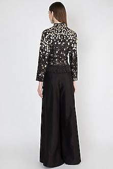 Black Embroidered Jacket With Pants by Rocky Star