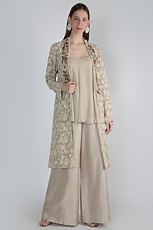 Beige Embroidered Jacket With Top & Pants by Rocky Star