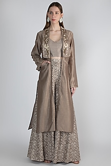 Brown Embroidered Jacket With Top & Palazzo Pants by Rocky Star