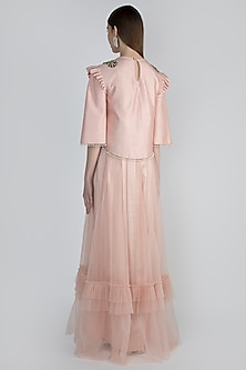 Pink Embroidered Jacket With Gown by Rocky Star