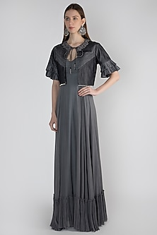 Grey Gown With Embroidered Jacket by Rocky Star