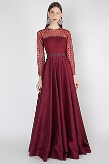 Maroon Embroidered Gown by Rocky Star