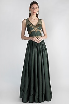 Bottle Green Embroidered Gown by Rocky Star
